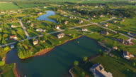 Rural Affluent Suburb in Beautiful Morning Light, Aerial View video
