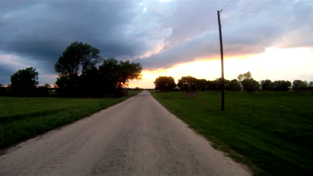 Rural Country Road South Texas At Sunset Storm Approaching video