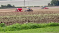 Rural Farming scene with chickens and tractors. video