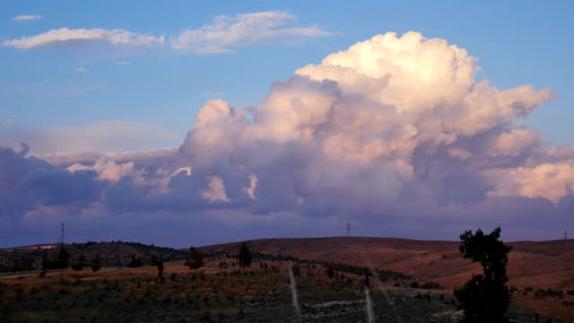 rural landscape and clouds on a blue sky video