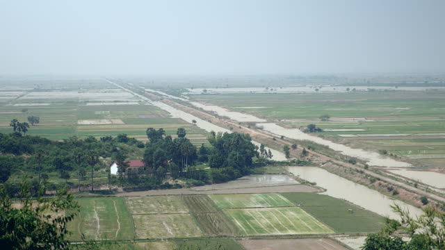 Rural landscape and flooded paddy fields video