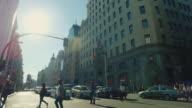 Rush hour in Gran Via at sunset, Madrid video