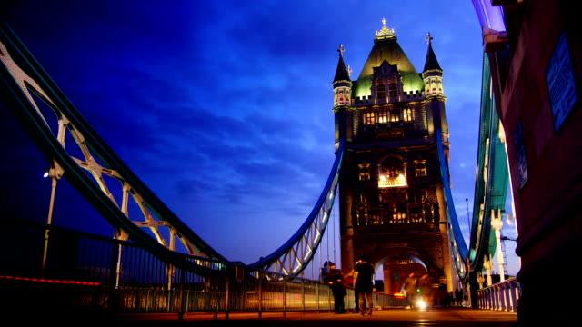 Rush hour in London, view to the Tower Bridge night video