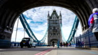 Rush hour in London, view to the Tower Bridge on day with vehicles and pedestrians, time lapse video