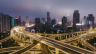 T/L WS HA PAN Rush Hour Traffic on Multiple Highways and Flyovers at Night / Shanghai, China video