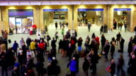 Rush hour train station people movement, London, time lapse video