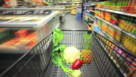 T/L Rushing With Shopping Cart In Supermarket POV video