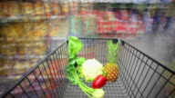T/L Rushing With Shopping Cart In Supermarket video