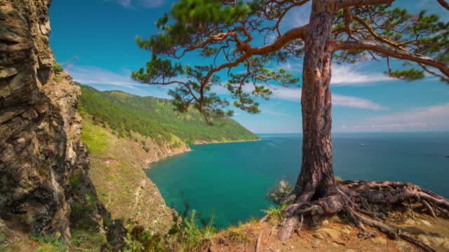 russia baikal lake sun light landscape hill view panorama 4k time lapse video