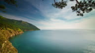 russia baikal lake sunny day panorama 4k time lapse video