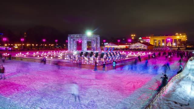 russia evening light moscow city gorky park ice rink panorama 4k time lapse video