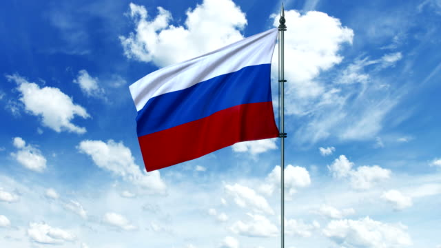 Russia flag animation, alpha channel video