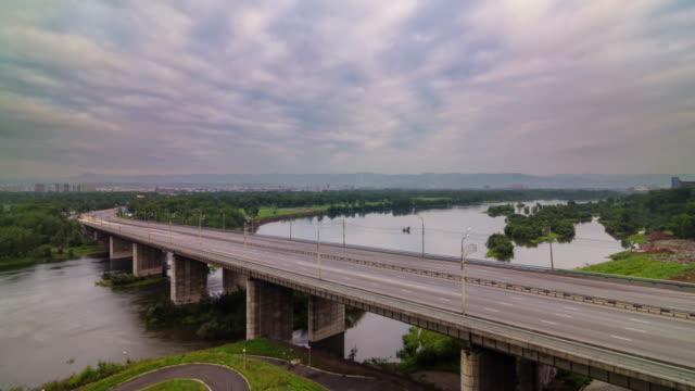 russia krasnoyarsk city traffic road cloudy sky 4k time lapse video