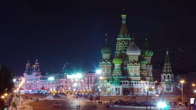 russia moscow night red square church of saint vasily the blessed 4k time lapse video