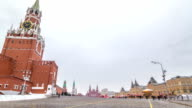 Russia, Moscow, Red Square timelapse. Spasskaya Tower and GUM Shopping Center on the back video