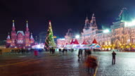 russia night illumination moscow winter red square gum fairy 4k time lapse video