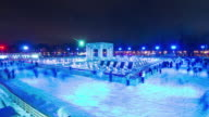 russia night light moscow famous gorky park ice rink panorama 4k time lapse video