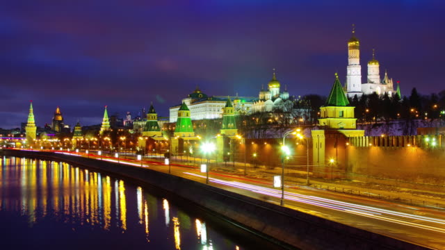 russia night light moscow river traffic bay kremlin panorama 4k time lapse video