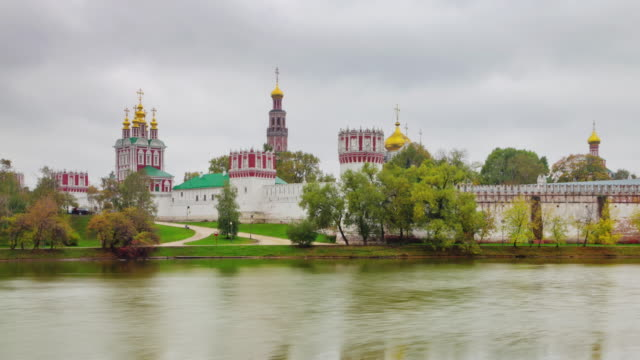 russia rainy day moscow city pond church panorama 4k time lapse video
