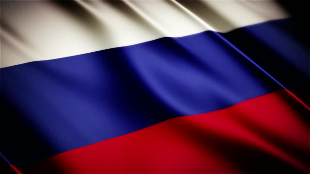 Russia realistic national flag seamless looped waving animation video