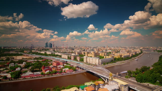 russia sunny day moscow river traffic roof top panorama 4k time lapse video