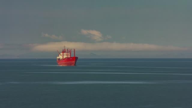 russia sunset light vladivostok port red ship waterfront panorama 4k time lapse video