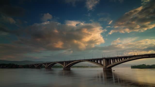russia sunset sky krasnoyarsk city yenisei river bridge panorama 4k time lapse video
