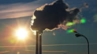 russia sunset sun light factory smoke pipe moscow city 4k time lapse video