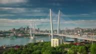 russia vladivostok famous city bridge bay panorama 4k time lapse video