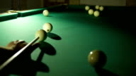 Russian billiards blow cue over the ball, unsuccessfully. Close-up. video