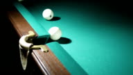 Russian billiards blow cue - successfully. Ball enters the pocket. video