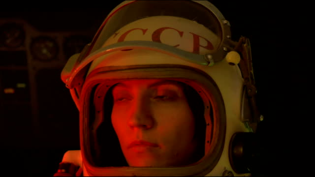 Russian Cosmonaut with Helmet Visor Up video