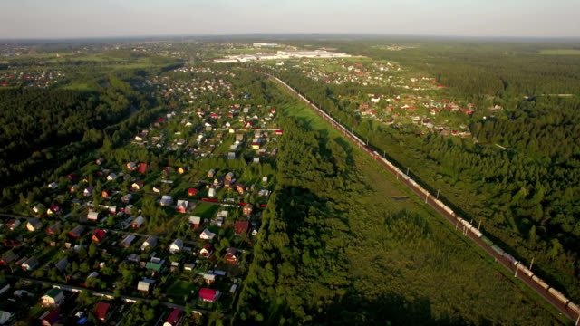 Russian countryside and railway, aerial view video