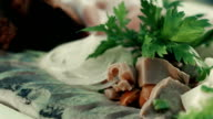 Russian cuisine. Dish with different cold appetizers video