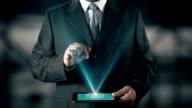 Russian Language Choose Businessman using digital tablet technology futuristic background video