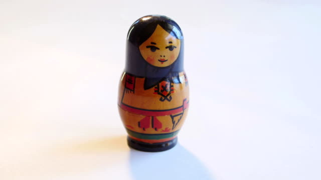 Russian Matryoshka Doll rotates on a white background in FullHD video