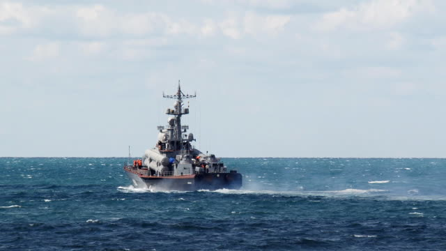Russian missile boat in the open sea video
