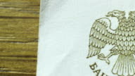 Russian ruble, macro Eagle on banknote video