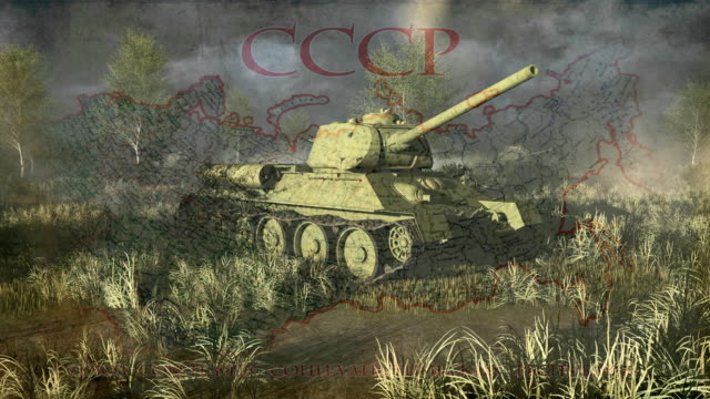 Russian Tank T 34 take aim at the camera video