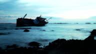 Rust Shipwreck over the sea video