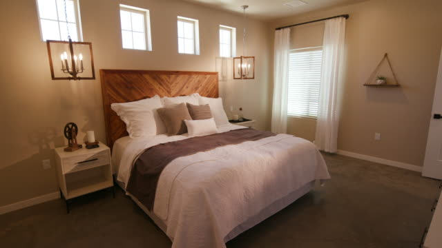 Rustic Industrial Bedroom Lowering Left Angle from Ceiling video