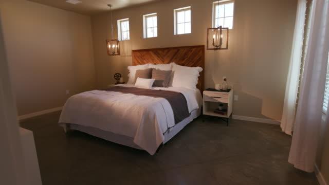 Rustic Industrial Bedroom Reveal Panning Right From Doorway video