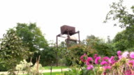 rusty water reservoir tank for plant flower watering in garden video
