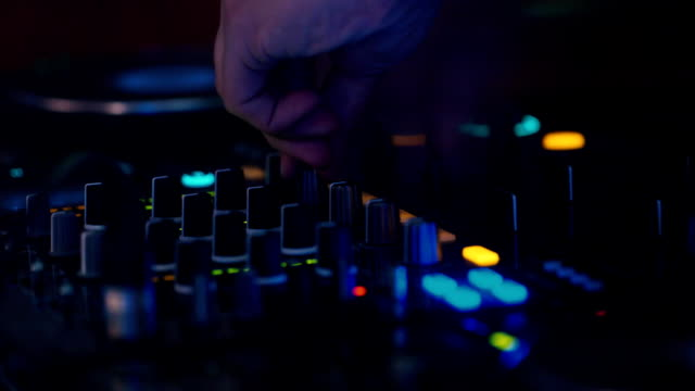 DJ's hands work on a DJ keyboard video