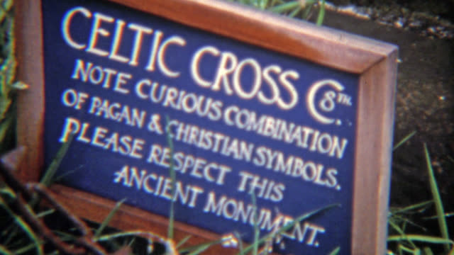 CORK, IRELAND 1973: Sacred Druid Celtic cross site. video