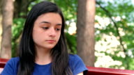 Sad and depressed beautiful teenager girl video
