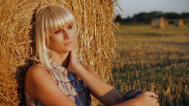 HD DOLLY: Sad And Lonely Woman In The Field video
