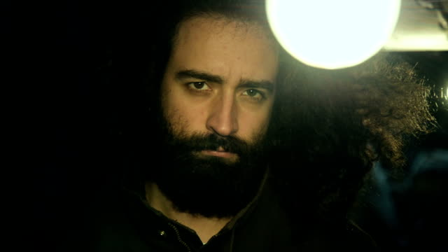 Sad bearded man video