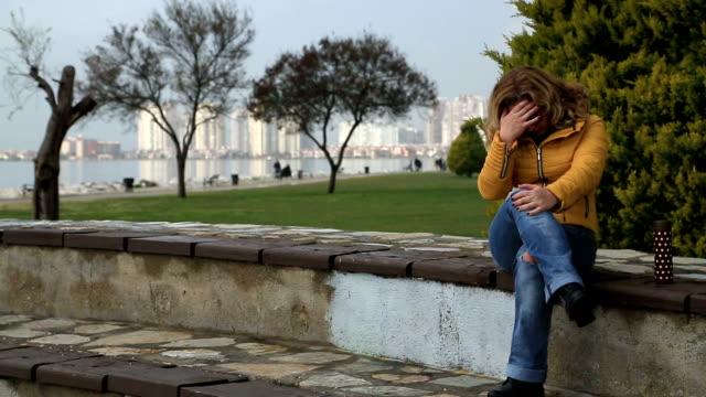 Sad lonely woman video