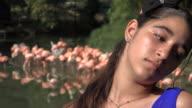 Sad Teen Girl with Flamingos video